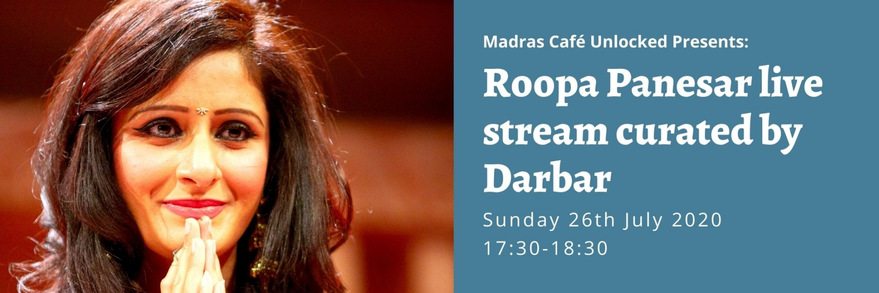 Madras Cafe Unlocked 2020: Roopa Panesar live stream curated by Darbar
