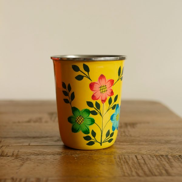 Hand-painted Steel Tumblers (small) - Yellow 3