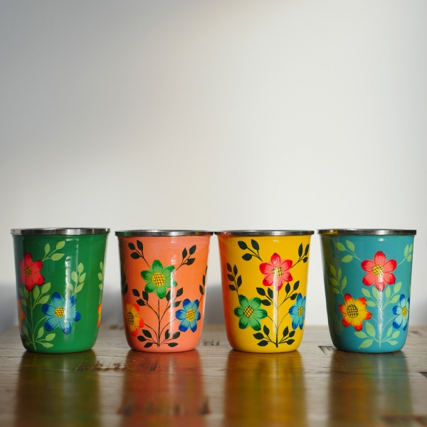 Hand-painted Steel Tumblers (small) - Yellow 7