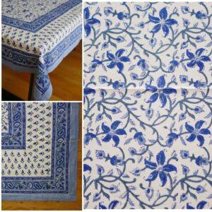 Table Cloths – Hand Blocked Printed - Blue on white flowered border 150x220cm