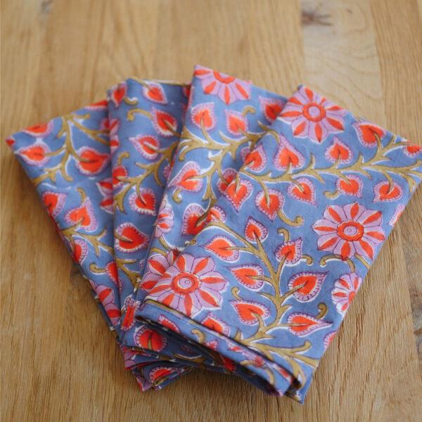 Table Napkins - Hand Blocked Printed - Set of 6 napkins 3