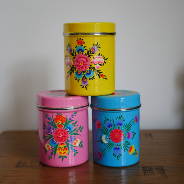 Hand-painted Steel Tins with lid