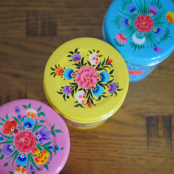 Hand-painted Steel Tins with lid 1