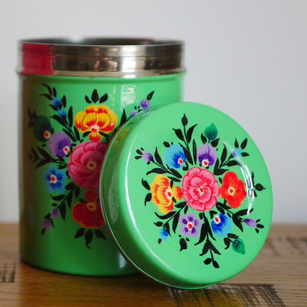 Hand-painted Steel Tins with lid 5